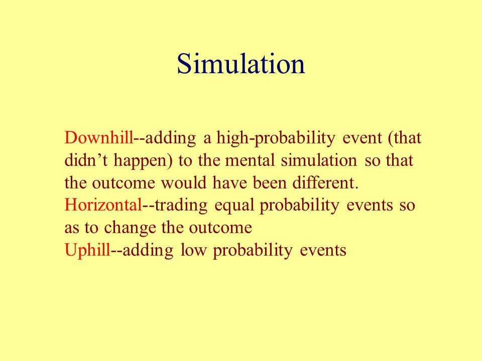 Simulation Downhill--adding a high-probability event (that didn't happen) to the mental simulation so that the outcome would have been different.