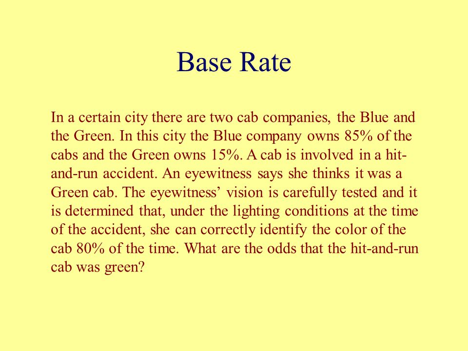 Base Rate In a certain city there are two cab companies, the Blue and the Green.