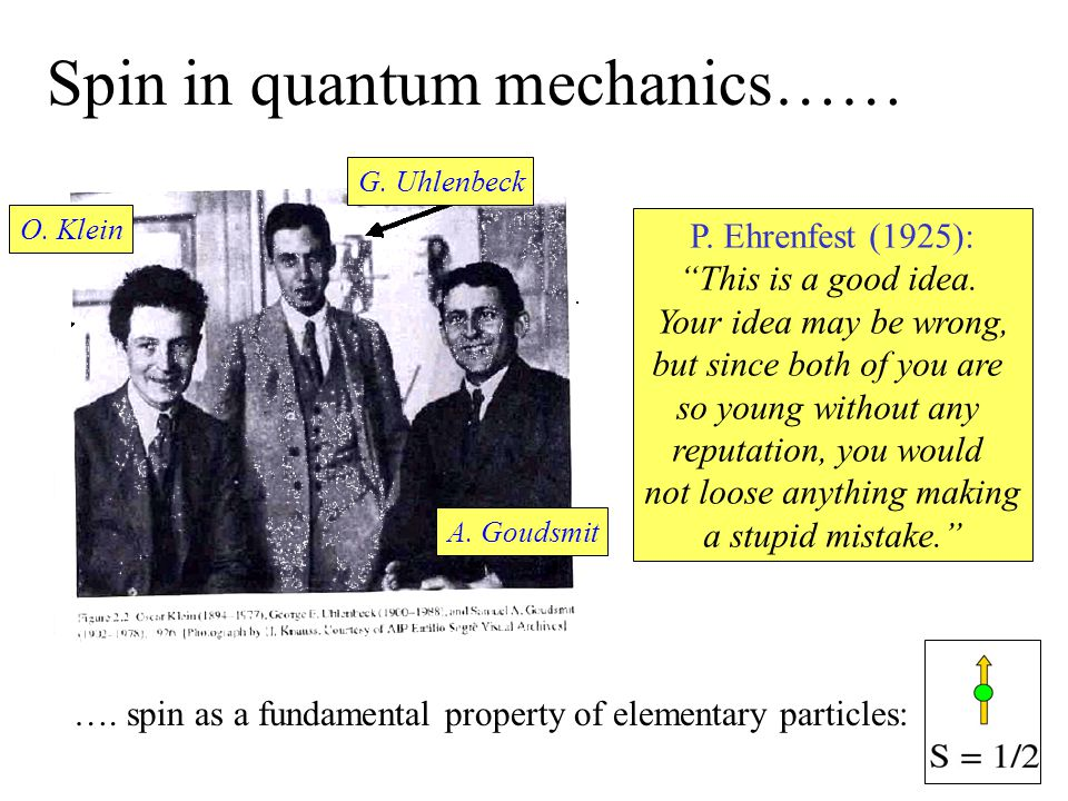 "Spin in quantum mechanics…… O. Klein G. Uhlenbeck A. Goudsmit P. Ehrenfest (1925): ""This is a good idea. Your idea may be wrong, but since both of you"