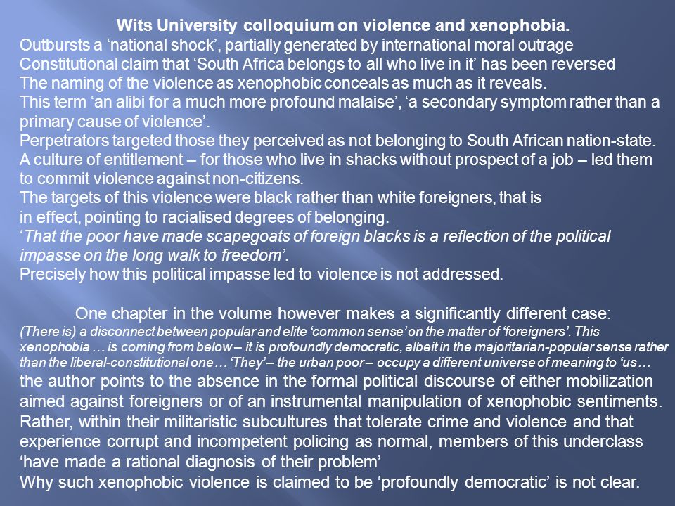 Wits University colloquium on violence and xenophobia.