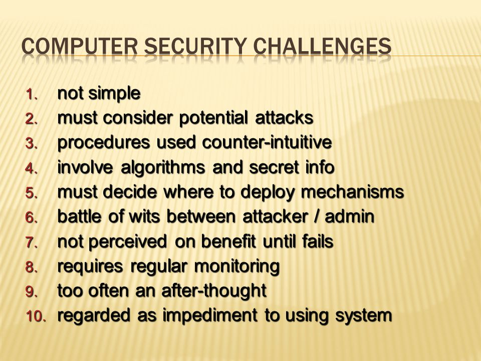 1. not simple 2. must consider potential attacks 3. procedures used counter-intuitive 4. involve algorithms and secret info 5. must decide where to de