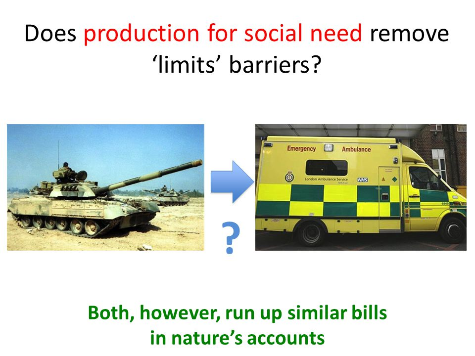 Does production for social need remove 'limits' barriers? ? Both, however, run up similar bills in nature's accounts