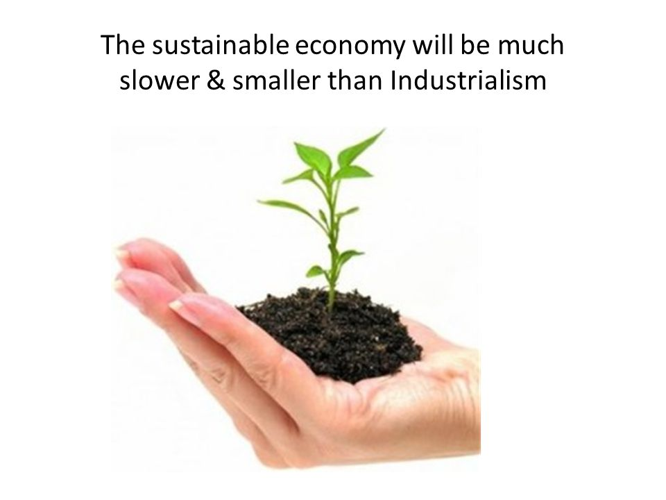 The sustainable economy will be much slower & smaller than Industrialism