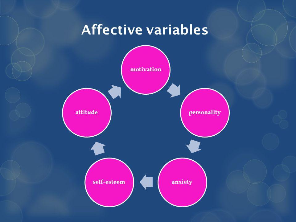 Affective variables motivationpersonalityanxietyself-esteemattitude