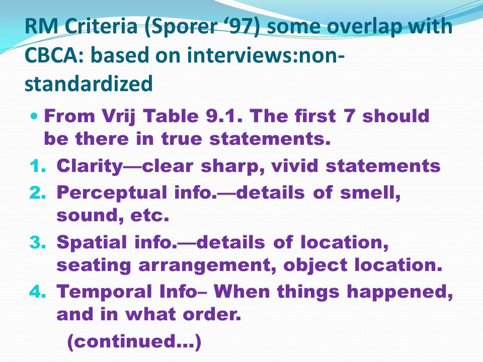 RM Criteria (Sporer '97) some overlap with CBCA: based on interviews:non- standardized From Vrij Table 9.1.