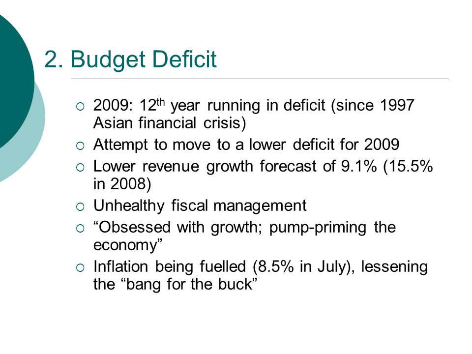 2. Budget Deficit  2009: 12 th year running in deficit (since 1997 Asian financial crisis)  Attempt to move to a lower deficit for 2009  Lower reve