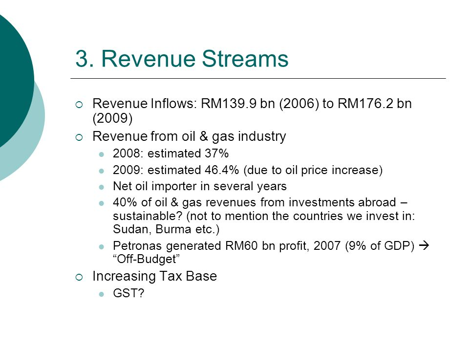 3. Revenue Streams  Revenue Inflows: RM139.9 bn (2006) to RM176.2 bn (2009)  Revenue from oil & gas industry 2008: estimated 37% 2009: estimated 46.