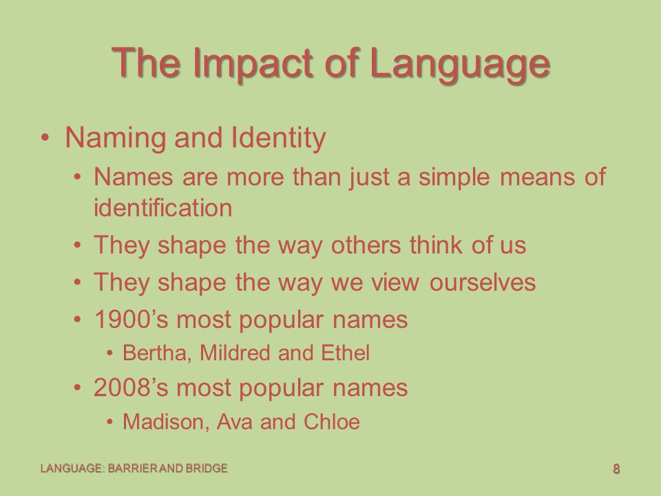 19 LANGUAGE: BARRIER AND BRIDGE The Impact of Language Language of Responsibility I and You Language An I statement has four elements: The person's behavior Your interpretations Your feelings The consequences that the other person's behavior has for you