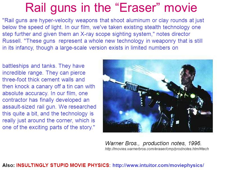 Rail guns in the Eraser movie Rail guns are hyper-velocity weapons that shoot aluminum or clay rounds at just below the speed of light.
