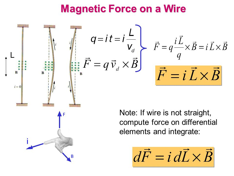 Magnetic Force on a Wire L Note: If wire is not straight, compute force on differential elements and integrate: i