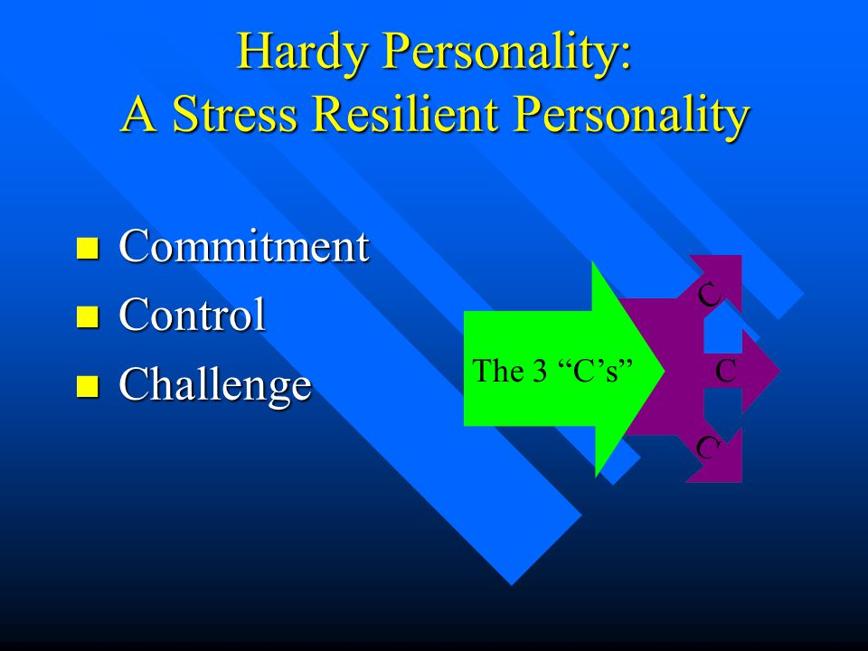 "Hardy Personality: A Stress Resilient Personality n Commitment n Control n Challenge The 3 ""C's"" C C C"