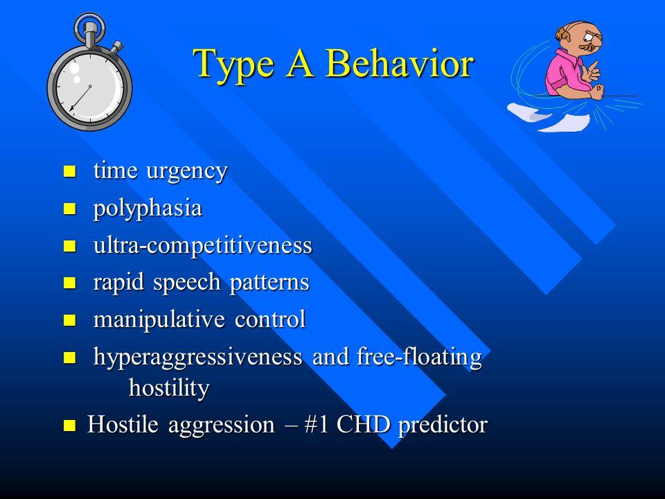 Type A Behavior n time urgency n polyphasia n ultra-competitiveness n rapid speech patterns n manipulative control n hyperaggressiveness and free-floating hostility n Hostile aggression – #1 CHD predictor