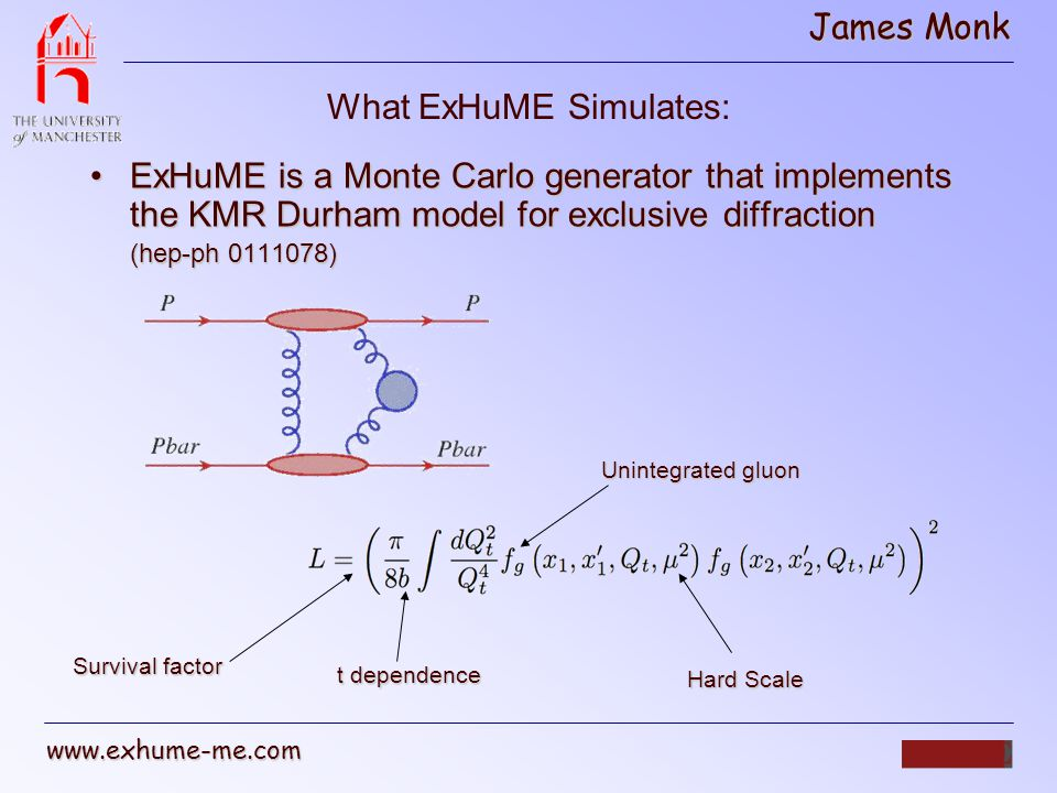 James Monk www.exhume-me.com Post Mortem ExHuME is the only Monte Carlo implementation of the Durham modelExHuME is the only Monte Carlo implementation of the Durham model ExHuME will be available today atExHuME will be available today at www.exhume-me.com Have only made Higgs signal available.
