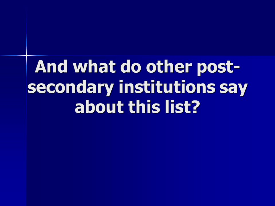And what do other post- secondary institutions say about this list?