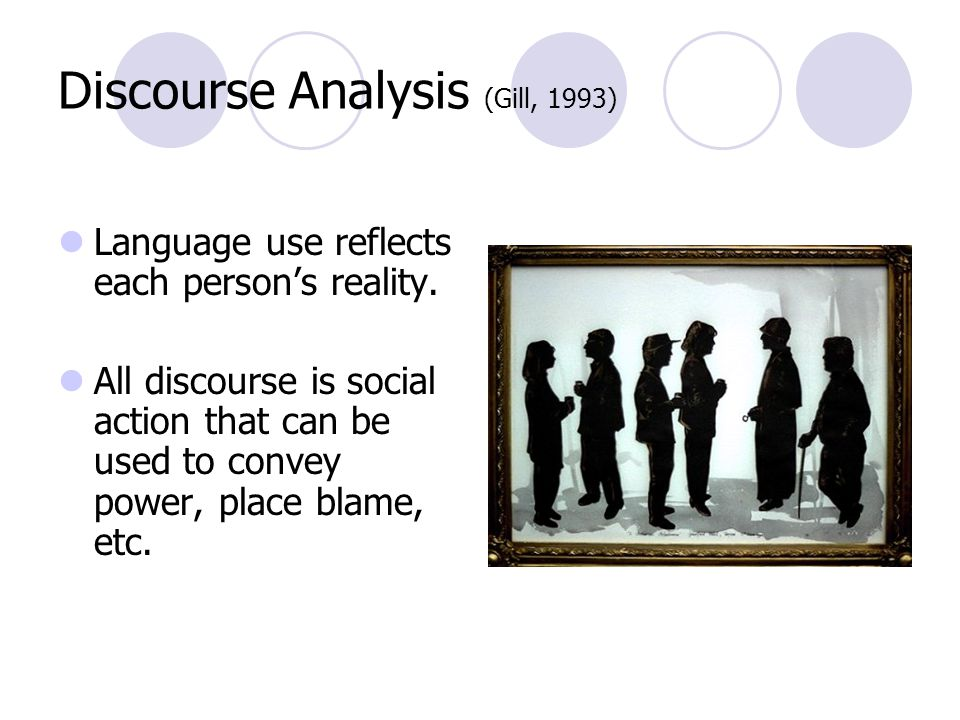 Discourse Analysis (Gill, 1993) Language use reflects each person's reality.