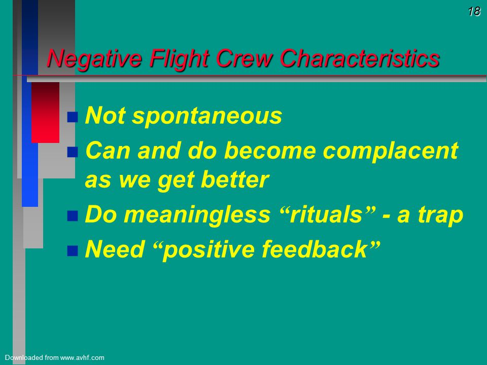 18 Downloaded from www.avhf.com Negative Flight Crew Characteristics n n Not spontaneous n n Can and do become complacent as we get better n n Do meaningless rituals - a trap n n Need positive feedback
