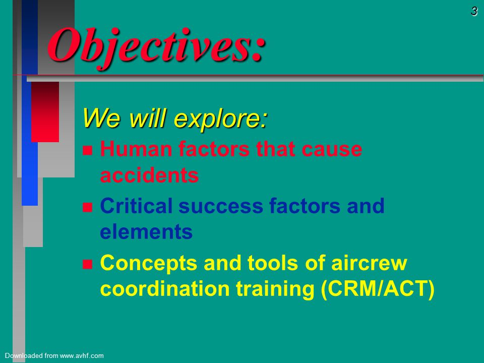 4 Downloaded from www.avhf.com Goals of CRM: Goals of CRM: CRM should provide pilot with: CRM should provide pilot with: n KNOWLEDGE n KNOWLEDGE of concepts and procedures n ATTITUDE n ATTITUDE which recognizes the importance of good aircrew coordination to safety.
