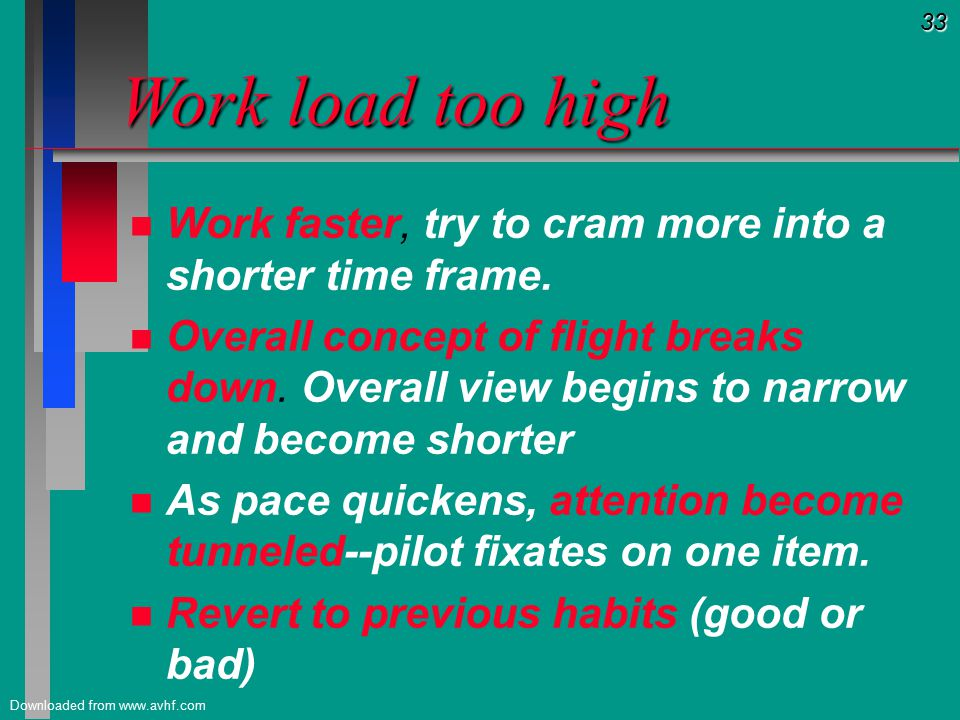 33 Downloaded from www.avhf.com Work load too high Work load too high n n Work faster, try to cram more into a shorter time frame.