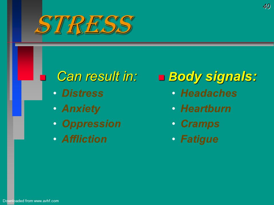 40 Downloaded from www.avhf.com Stress Stress n Can result in: Distress Anxiety Oppression Affliction n B ody signals: Headaches Heartburn Cramps Fatigue