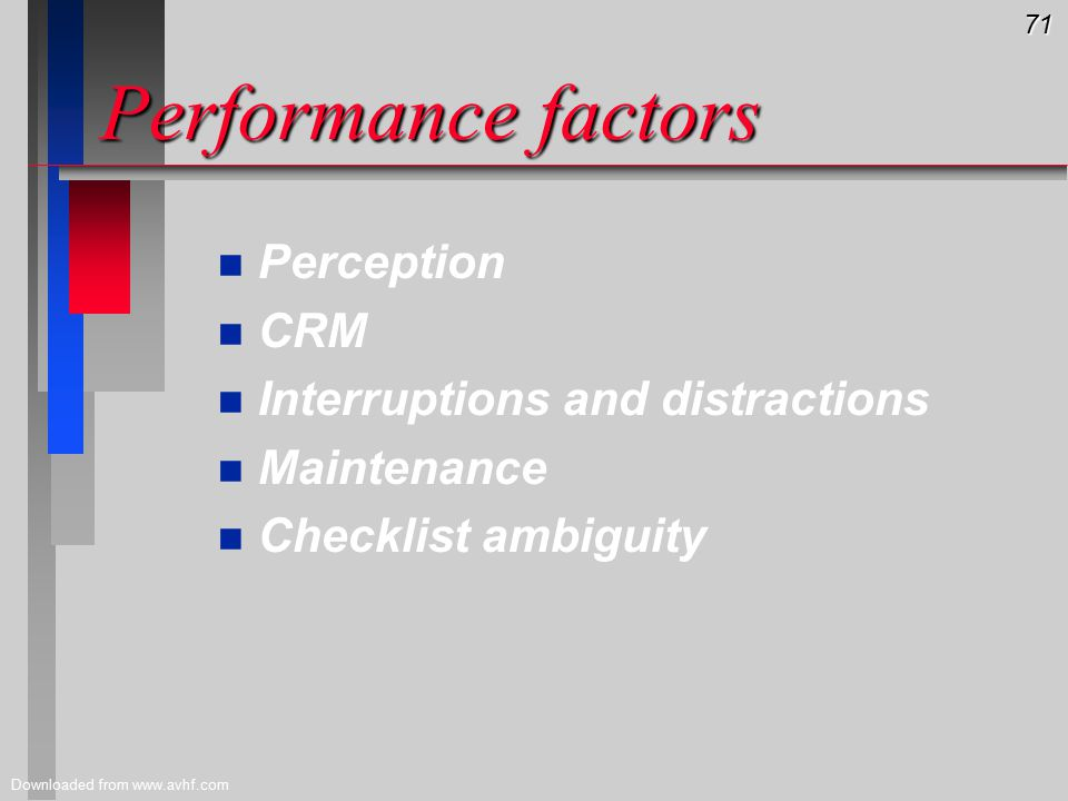 71 Downloaded from www.avhf.com Performance factors n n Perception n n CRM n n Interruptions and distractions n n Maintenance n n Checklist ambiguity