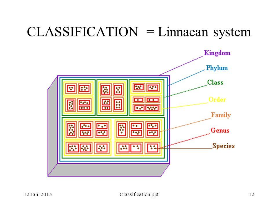 12 Jan. 2015Classification.ppt12 CLASSIFICATION = Linnaean system