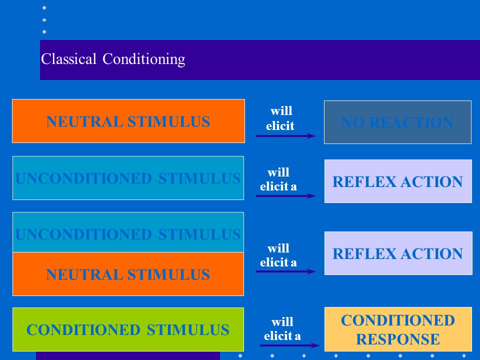 Classical Conditioning UNCONDITIONED STIMULUS REFLEX ACTION will elicit a UNCONDITIONED STIMULUS NEUTRAL STIMULUS REFLEX ACTION will elicit a CONDITIONED STIMULUS will elicit a CONDITIONED RESPONSE NEUTRAL STIMULUS will elicit NO REACTION