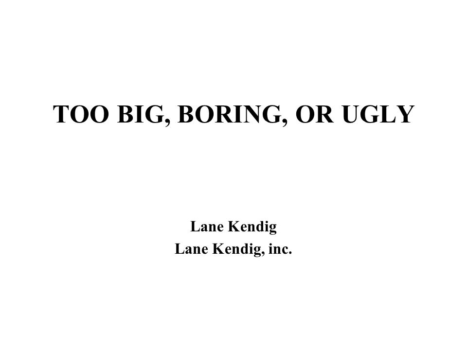 TOO BIG, BORING, OR UGLY Lane Kendig Lane Kendig, inc.