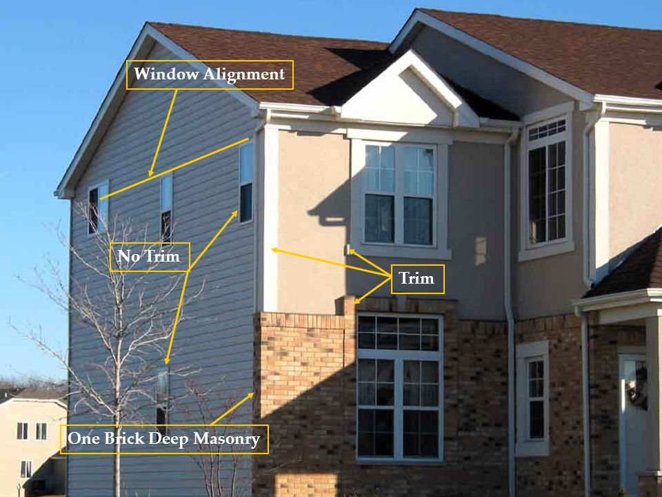 One Brick Deep Masonry Window Alignment Trim No Trim