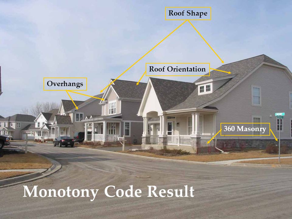 Monotony Code Result Roof Shape Roof Orientation Overhangs 360 Masonry