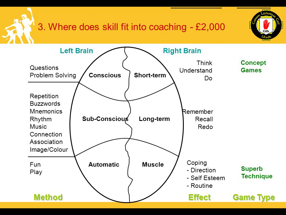 3. Where does skill fit into coaching - £2,000 Left BrainRight Brain MethodEffect Questions Problem Solving Repetition Buzzwords Mnemonics Rhythm Musi