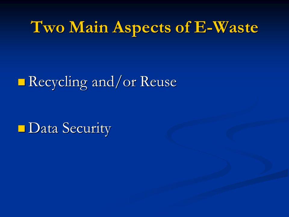 The EPA has no laws or regulations regarding e-waste.
