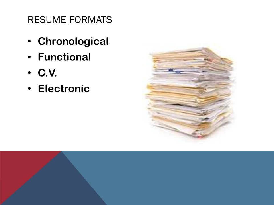 RESUME FORMATS Chronological Functional C.V. Electronic