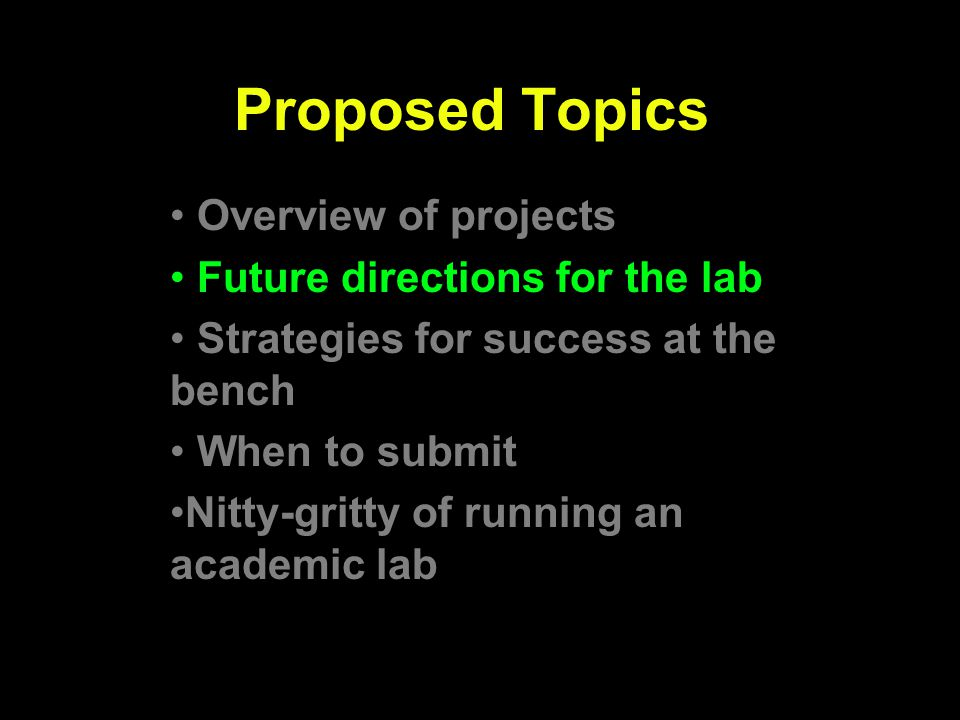 Proposed Topics Overview of projects Future directions for the lab Strategies for success at the bench When to submit Nitty-gritty of running an acade