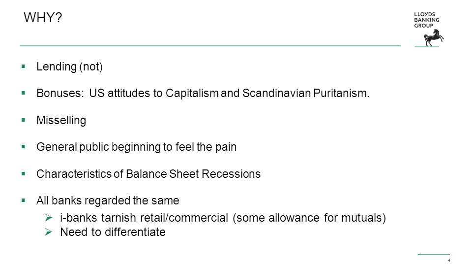 4 WHY. Lending (not)  Bonuses: US attitudes to Capitalism and Scandinavian Puritanism.