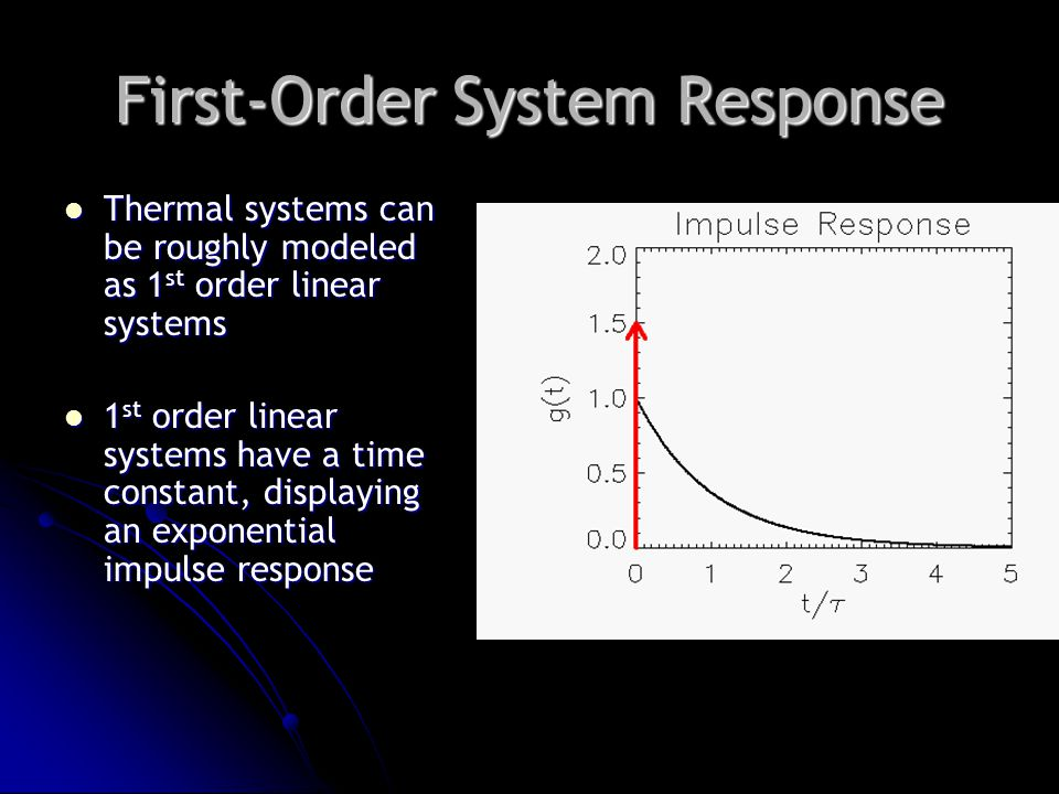 First-Order System Response Thermal systems can be roughly modeled as 1 st order linear systems Thermal systems can be roughly modeled as 1 st order linear systems 1 st order linear systems have a time constant, displaying an exponential impulse response 1 st order linear systems have a time constant, displaying an exponential impulse response