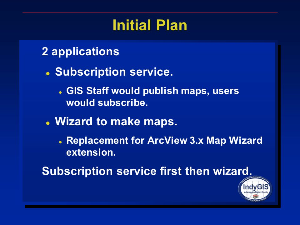Initial Plan 2 applications l Subscription service.