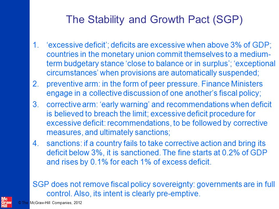 © The McGraw-Hill Companies, 2012 The Stability and Growth Pact (SGP) 1.'excessive deficit'; deficits are excessive when above 3% of GDP; countries in the monetary union commit themselves to a medium- term budgetary stance 'close to balance or in surplus'; 'exceptional circumstances' when provisions are automatically suspended; 2.preventive arm: in the form of peer pressure.