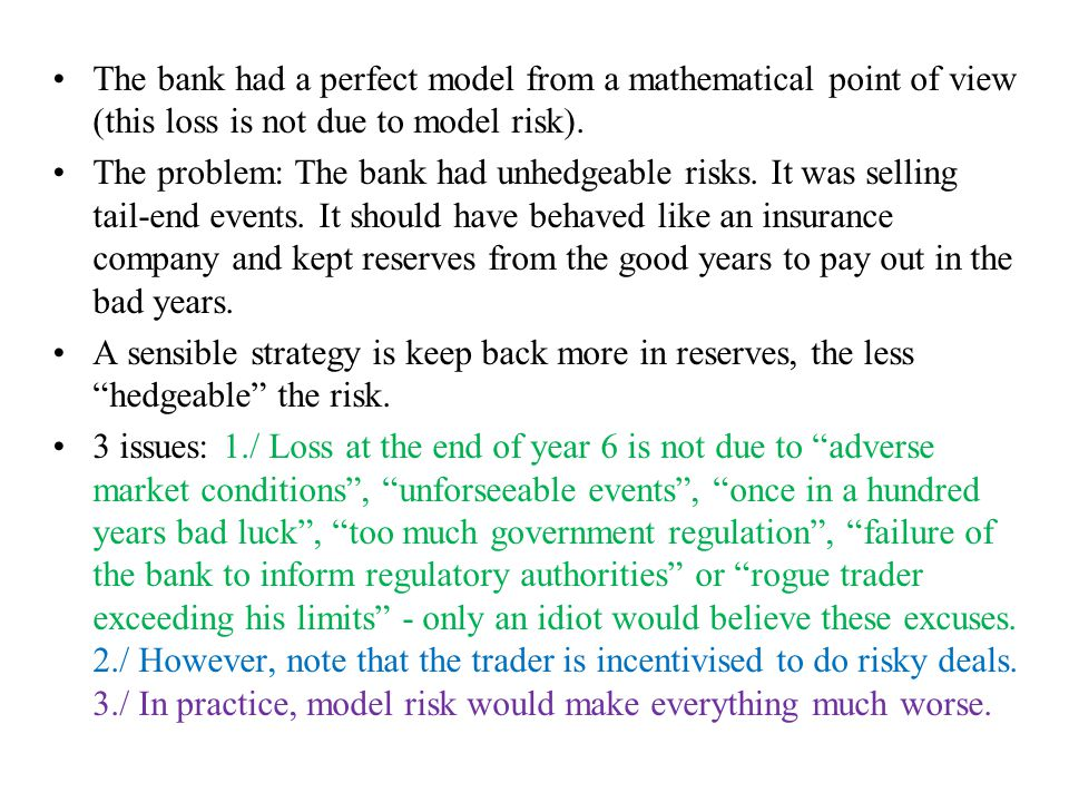 The bank had a perfect model from a mathematical point of view (this loss is not due to model risk).