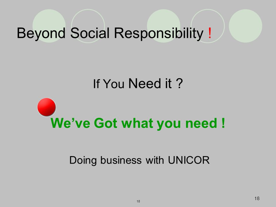 18 Beyond Social Responsibility . If You Need it .
