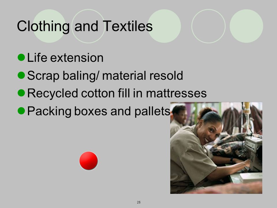 25 Clothing and Textiles Life extension Scrap baling/ material resold Recycled cotton fill in mattresses Packing boxes and pallets