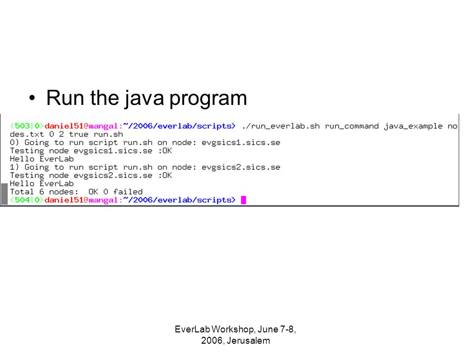 Run the java program