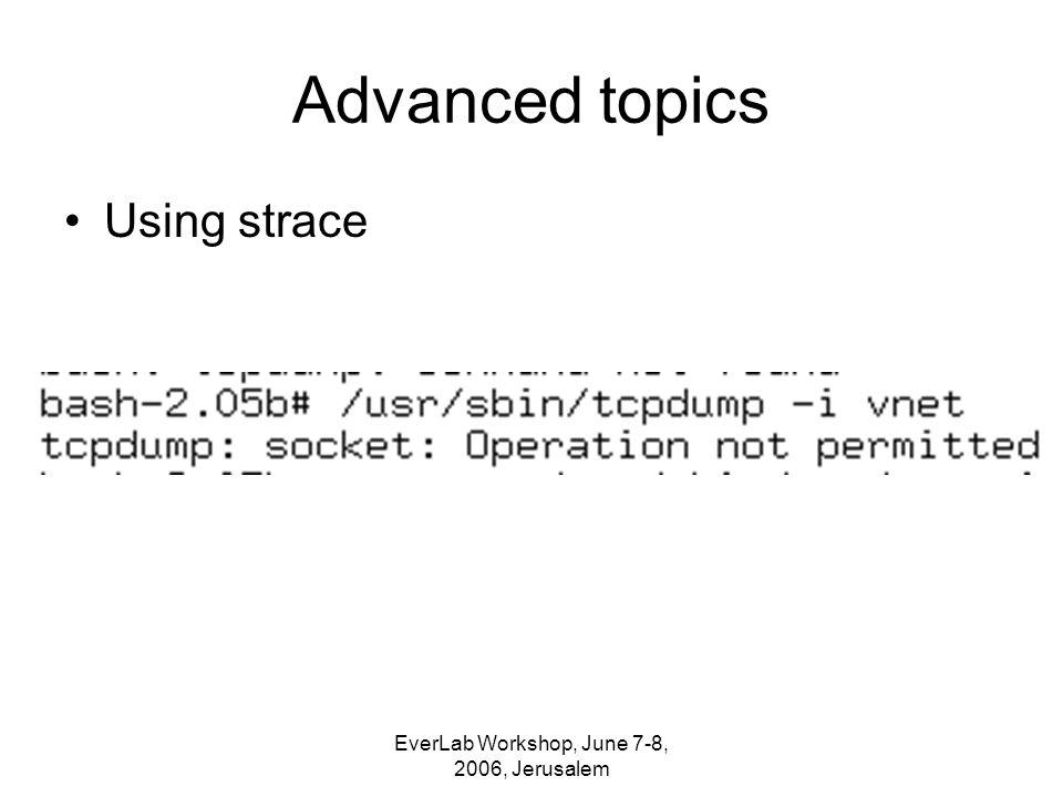 EverLab Workshop, June 7-8, 2006, Jerusalem Advanced topics Using strace
