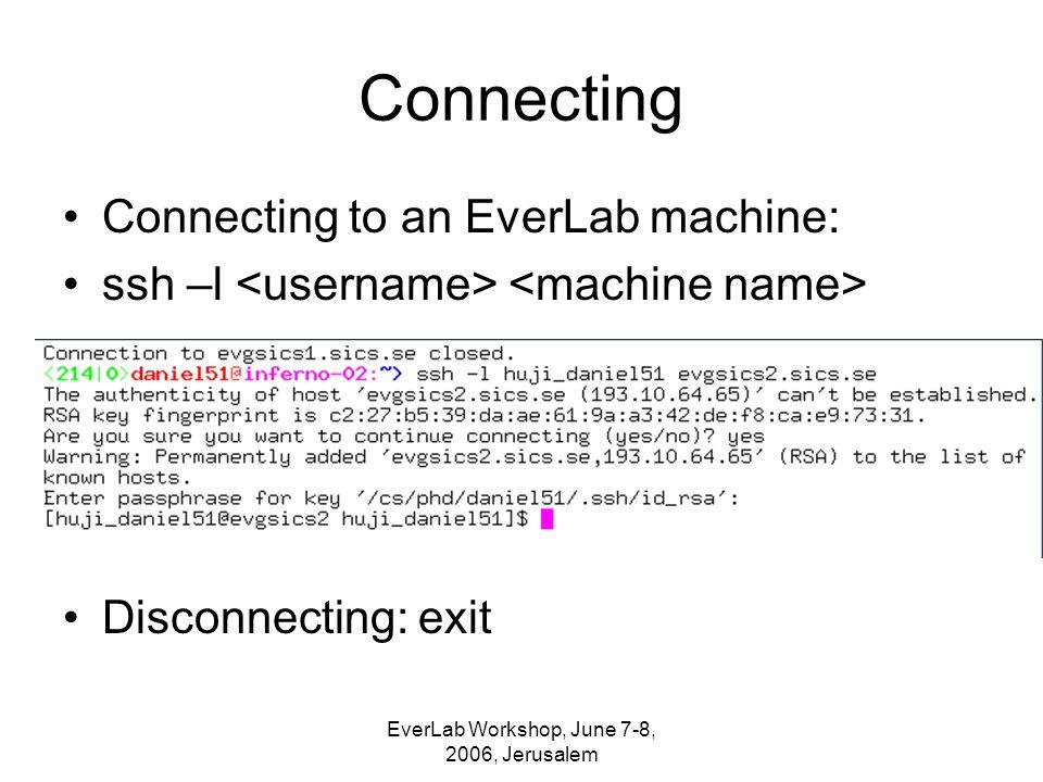 EverLab Workshop, June 7-8, 2006, Jerusalem Connecting Connecting to an EverLab machine: ssh –l Disconnecting: exit