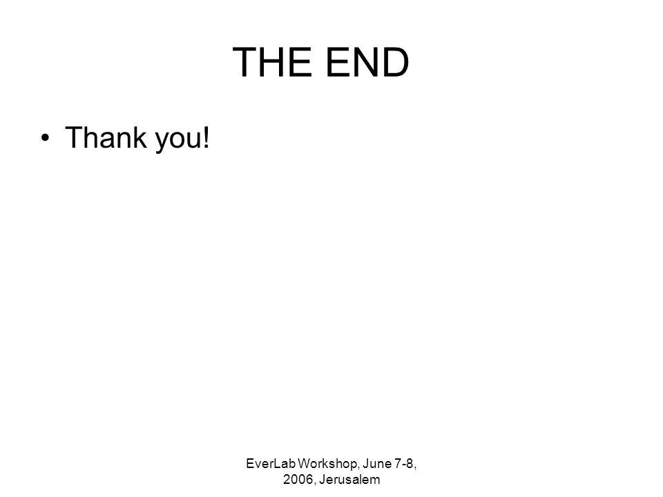 EverLab Workshop, June 7-8, 2006, Jerusalem THE END Thank you!