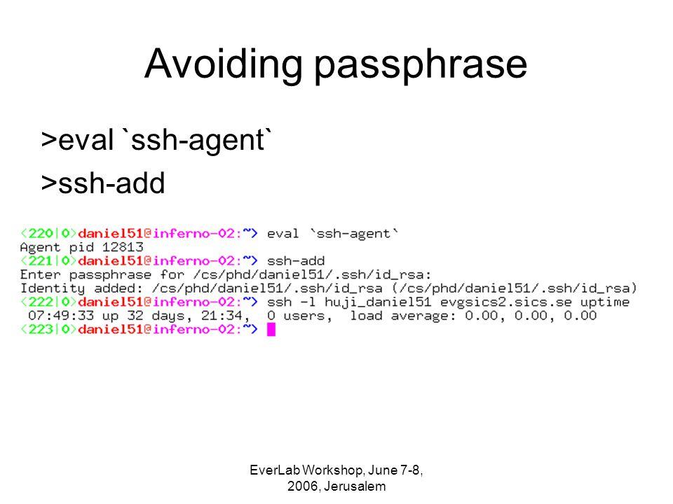EverLab Workshop, June 7-8, 2006, Jerusalem Avoiding passphrase >eval `ssh-agent` >ssh-add