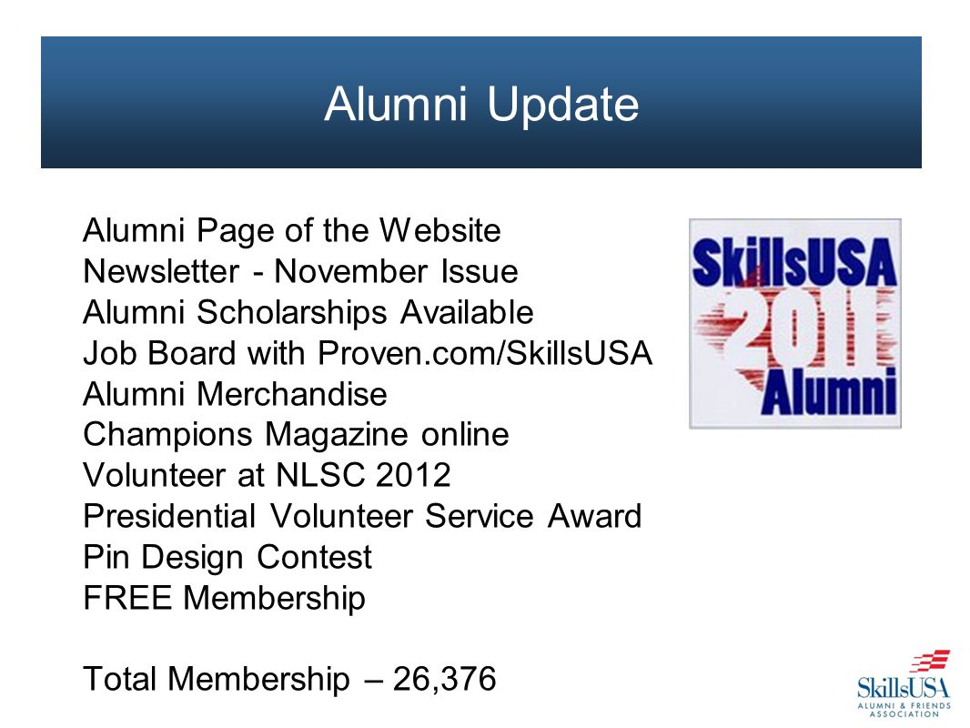 Alumni Page of the Website Newsletter - November Issue Alumni Scholarships Available Job Board with Proven.com/SkillsUSA Alumni Merchandise Champions