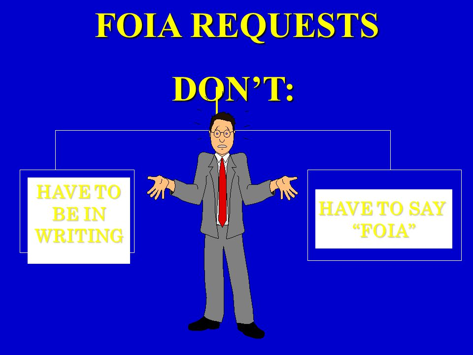 FOIA REQUESTS DON'T: HAVE TO BE IN WRITING HAVE TO SAY FOIA