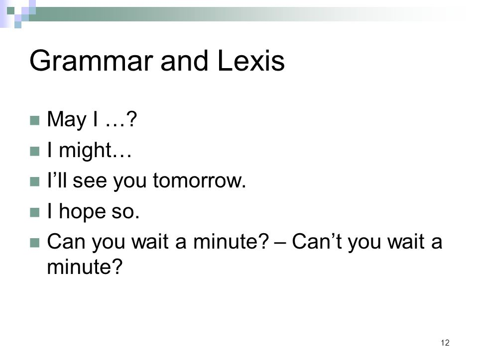 12 Grammar and Lexis May I ….I might… I'll see you tomorrow.