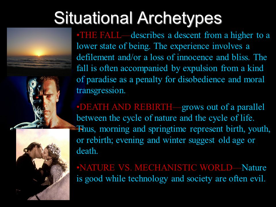 Situational Archetypes THE QUEST—search for someone or some object, which when it is found and brought back will restore life to a wasted land, the de