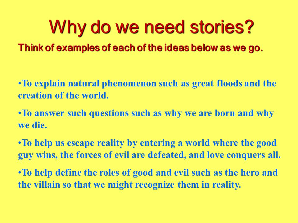 Do you agree with the following statements? Why or why not? Storytelling is essential for the survival of humanity and provides hope for humanity. Wit